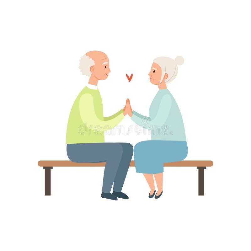 老人和妇女坐公园长椅,在爱的年长浪漫夫妇导航在白色背景的例证 皇族释放例证