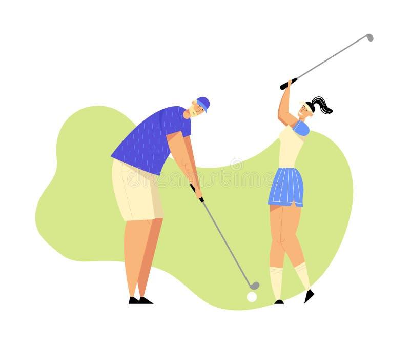 老人和年轻女人一致的使用的高尔夫球的在路线与绿草,击中球对孔,体育 向量例证