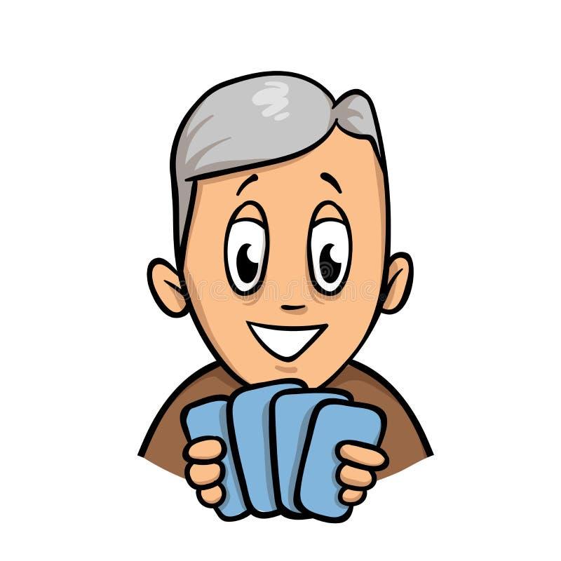 老人在他的手上的拿着四张卡片 平的传染媒介例证 背景查出的白色 库存例证