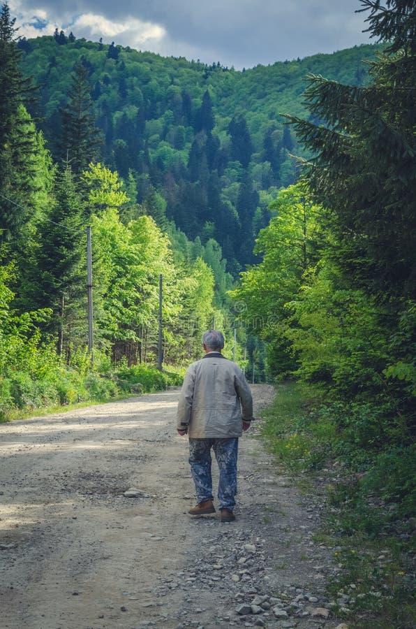 老人在山路去 免版税库存图片
