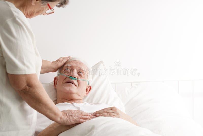 老人在招待所 免版税库存照片