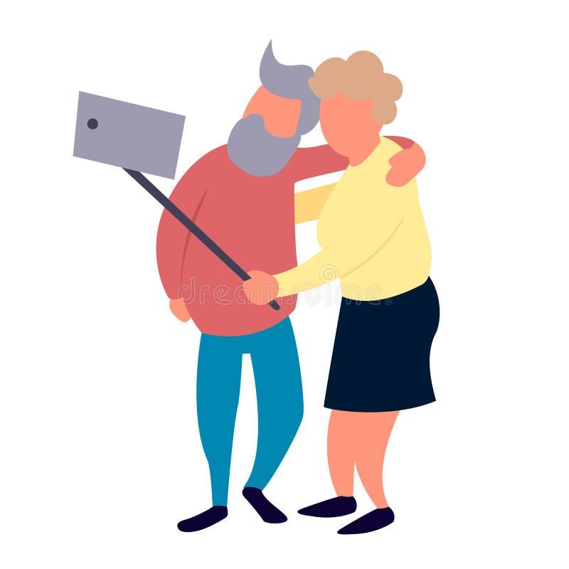 老人夫妇做selfie 休闲和休闲资深活动概念 皇族释放例证