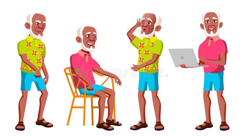 老人姿势被设置的传染媒介 投反对票 美国黑人 老年人 资深人 年龄 活跃祖父母 喜悦 网 皇族释放例证