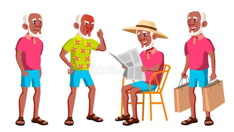 老人姿势被设置的传染媒介 投反对票 美国黑人 老年人 资深人 年龄 滑稽的领退休金者 休闲 明信片 皇族释放例证