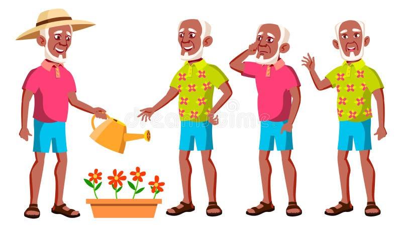 老人姿势被设置的传染媒介 投反对票 美国黑人 老年人 资深人 年龄 美丽的退休人员 生活 向量例证
