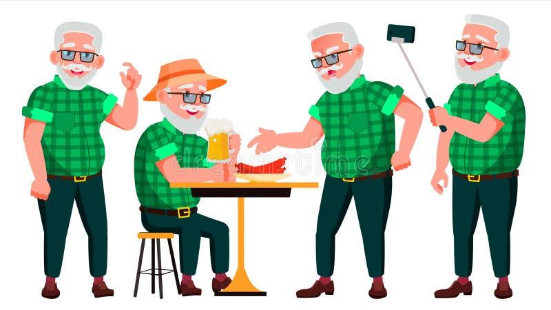 老人姿势被设置的传染媒介 老年人 资深人 年龄 正面领抚恤金者 广告,招贴,印刷品设计 向量例证
