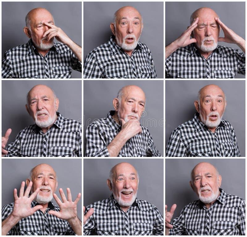 老人情感马赛克  免版税库存照片