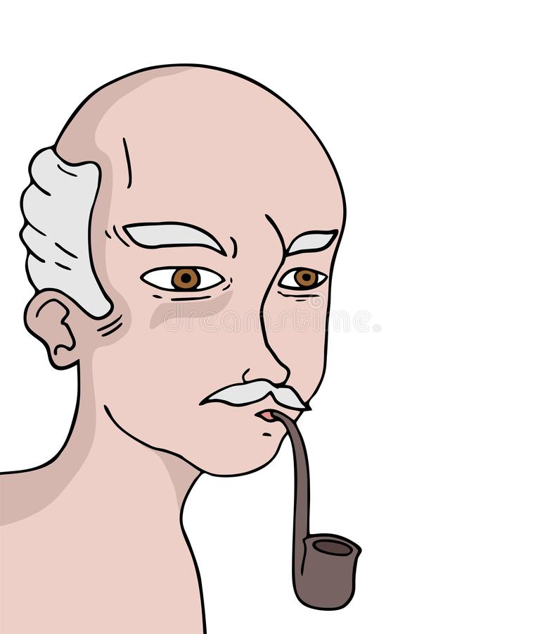 老人抽烟的凹道 皇族释放例证