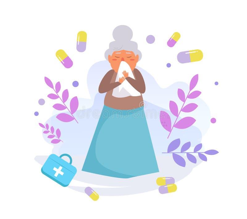 老人流感传染媒介 动画片 在白色背景的被隔绝的艺术 向量例证