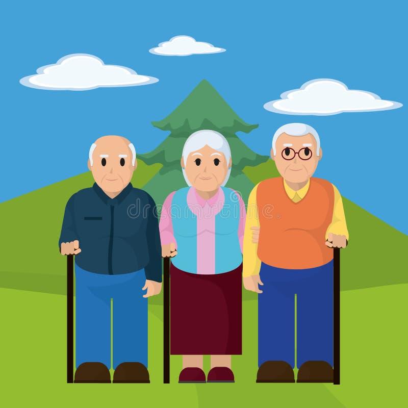 老人的小组 向量例证