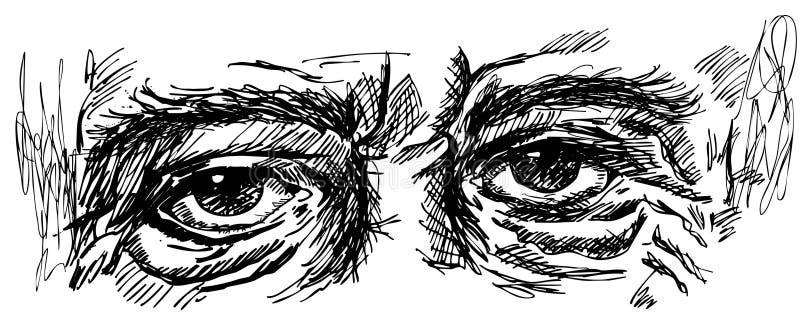 老人的眼睛有皱痕的 向量例证