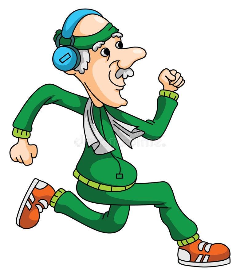 老人跑步 向量例证