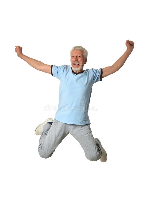 老人跳跃 免版税库存图片