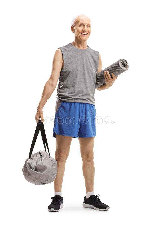 老人身分和对负体育请求和锻炼席子 免版税图库摄影