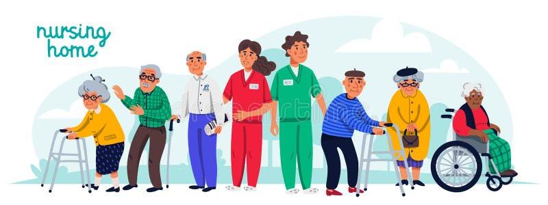 老人院概念 小组老年人和社会工作者 水平的横幅或盖子 资深人医疗保健 向量例证