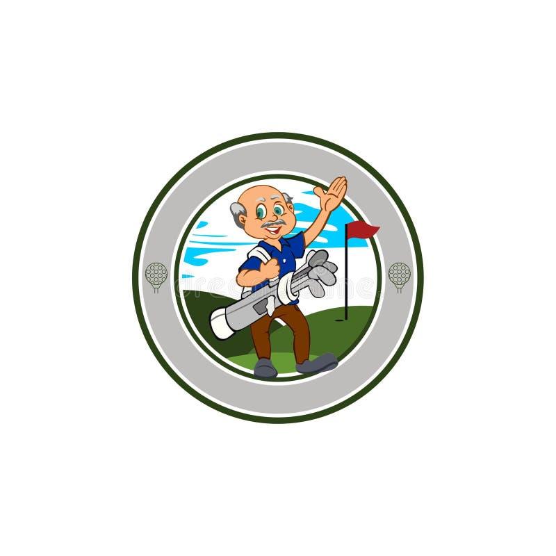 老人高尔夫球运动员俱乐部-高尔夫球商标-回合 库存例证