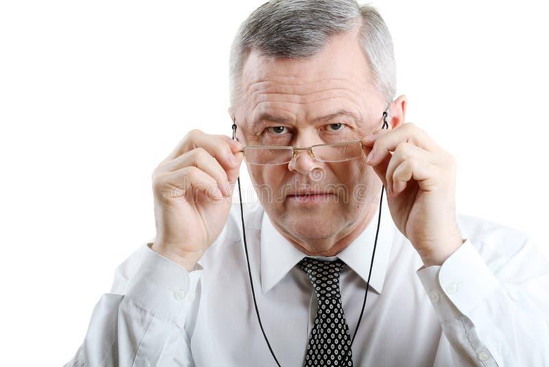 老人画象戴眼镜的 库存照片