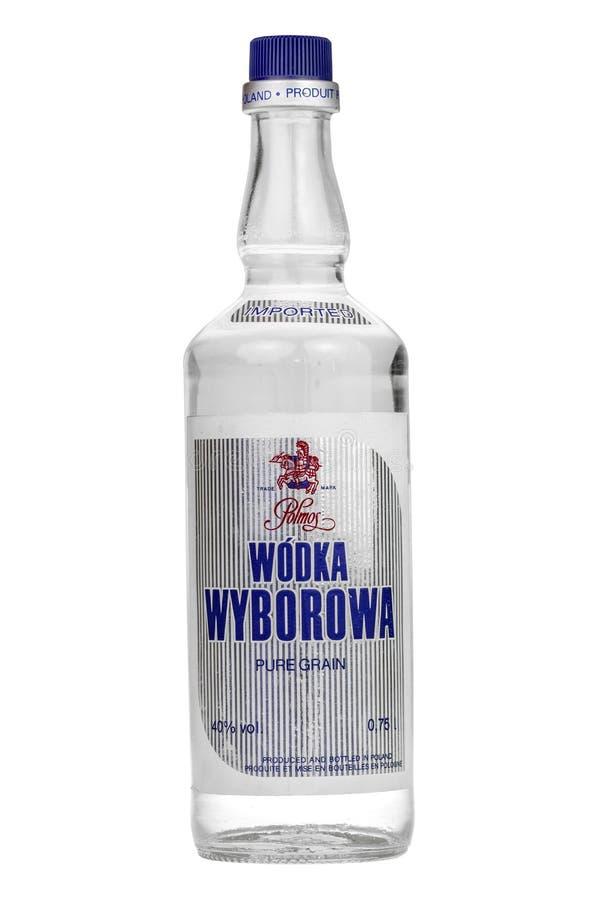老伏特加酒被隔绝在白色 免版税库存图片