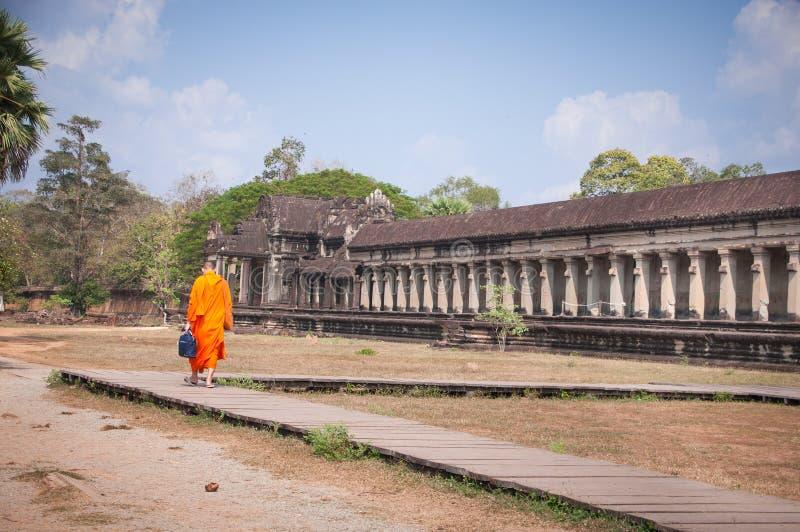 老佛教徒建筑学在吴哥考古学公园 柬埔寨-暹粒的纪念碑 普遍的电影风景 库存图片