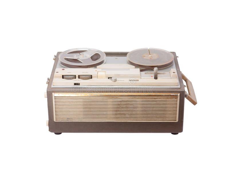 老便携式的开盘式的管磁带记录器 库存照片