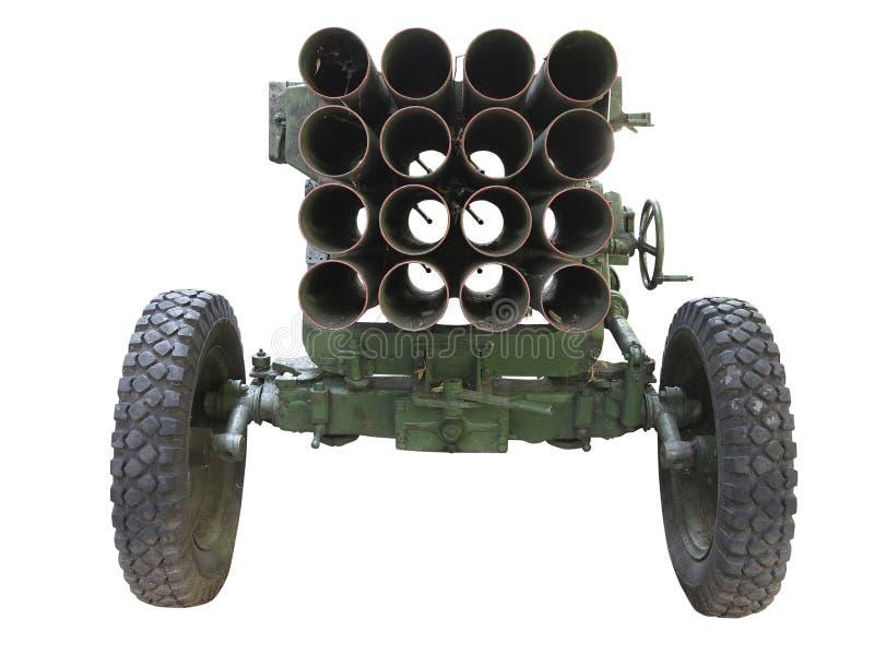 老俄国流动火箭发射器被隔绝在白色 免版税库存图片