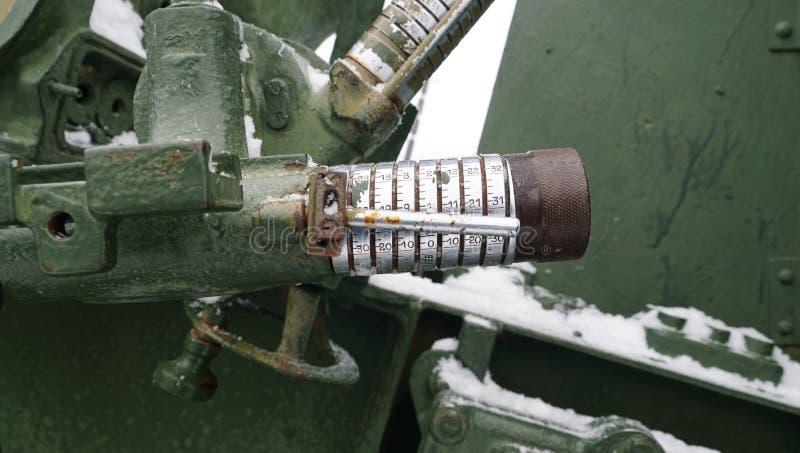 老俄国火炮领域的控制板军用设备 库存图片