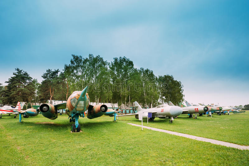 老俄国苏联军事飞行航空器战斗机和轰炸机 库存图片