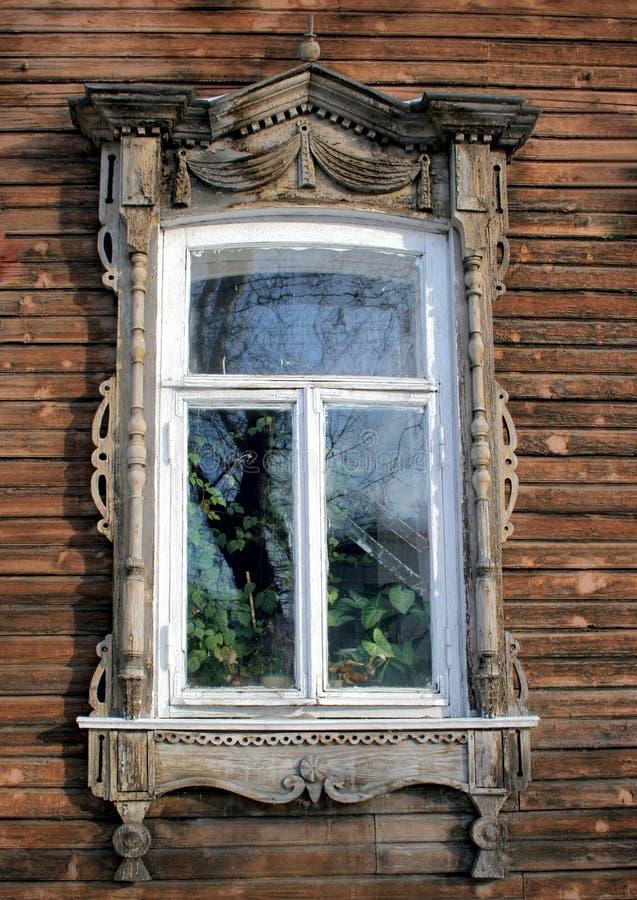 老俄国视窗在托木斯克 免版税库存图片