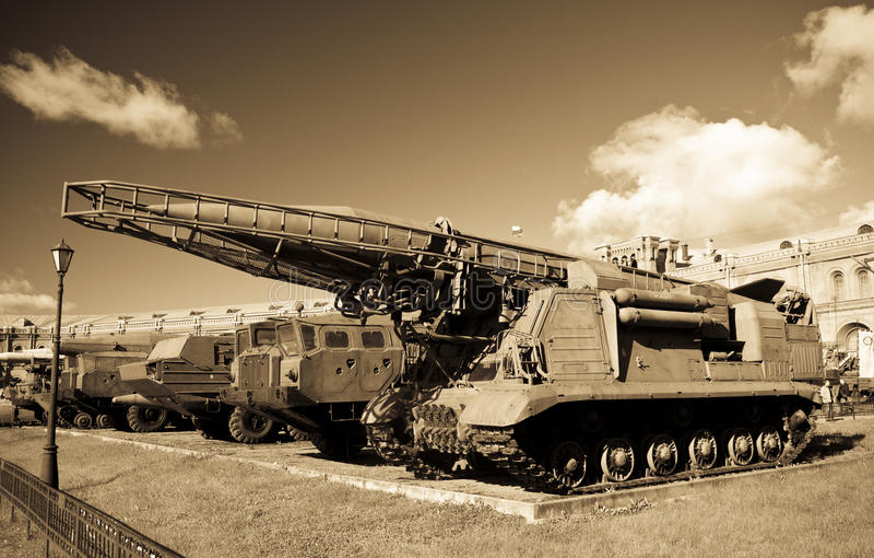 老俄国飞毛腿导弹launcer 库存照片