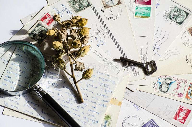 老信件,法国明信片 怀乡葡萄酒 图库摄影