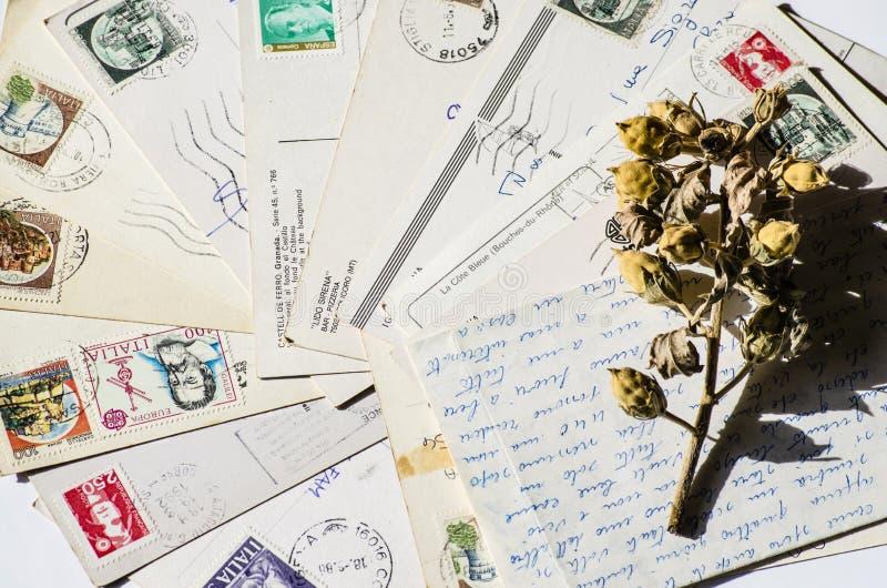 老信件,法国明信片 怀乡葡萄酒 免版税图库摄影