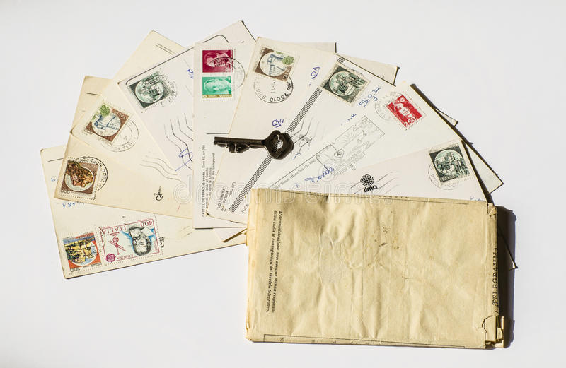 老信件,法国明信片 怀乡葡萄酒 库存图片