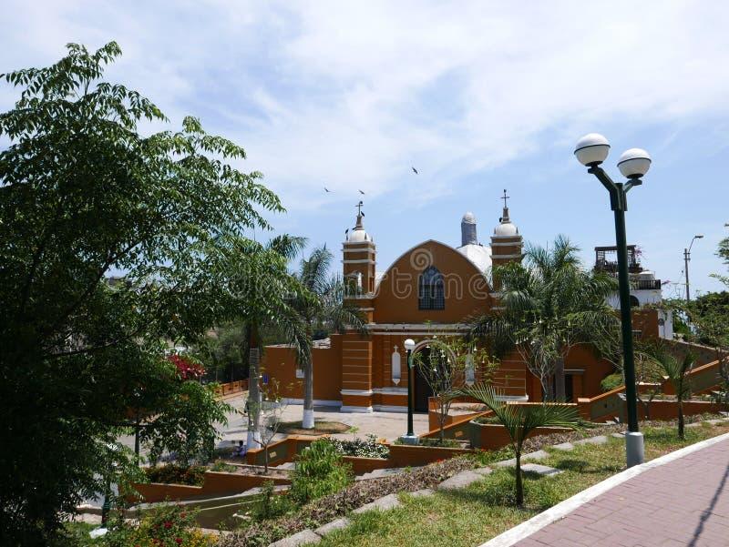 老偏僻寺院在利马巴兰科区  免版税库存图片