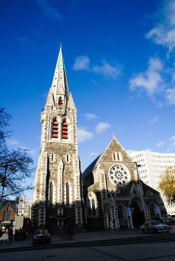 老克赖斯特切奇大教堂在秋天,新西兰 库存照片