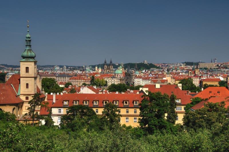 老全景布拉格城镇 库存照片