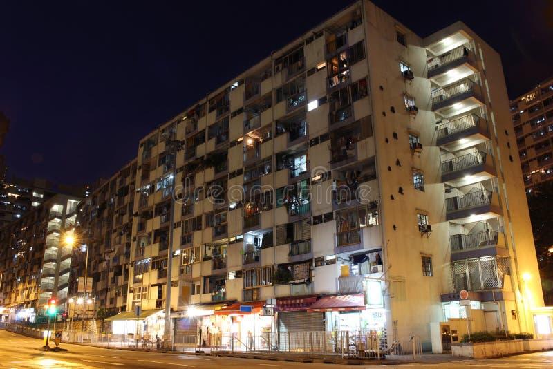 老公共住房在香港在晚上 免版税库存图片