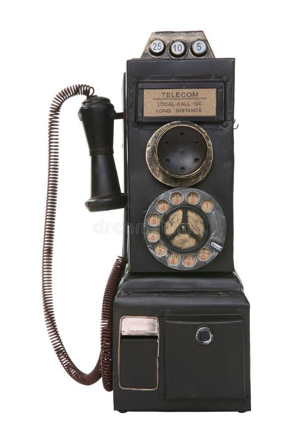 老公用电话葡萄酒 图库摄影