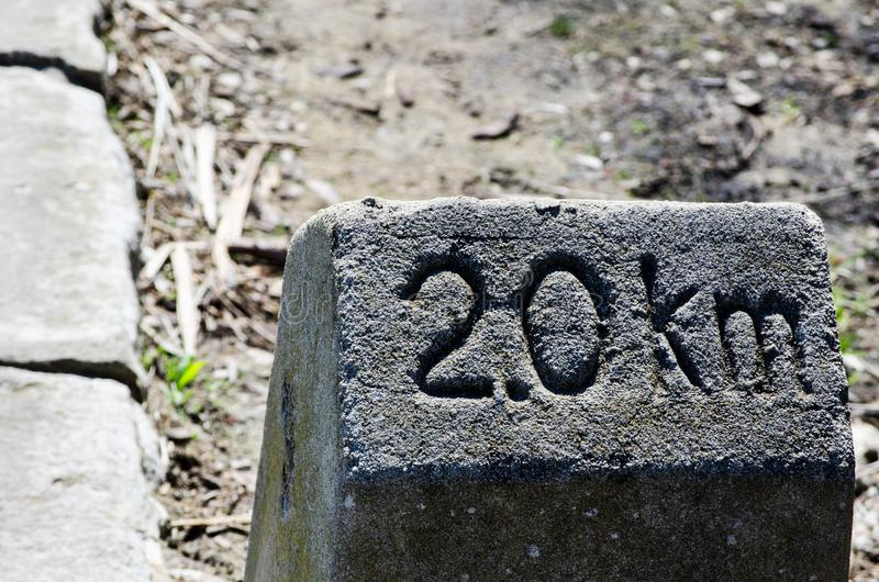 老公里石头说` 2 0 km 进入的`目的地 库存照片