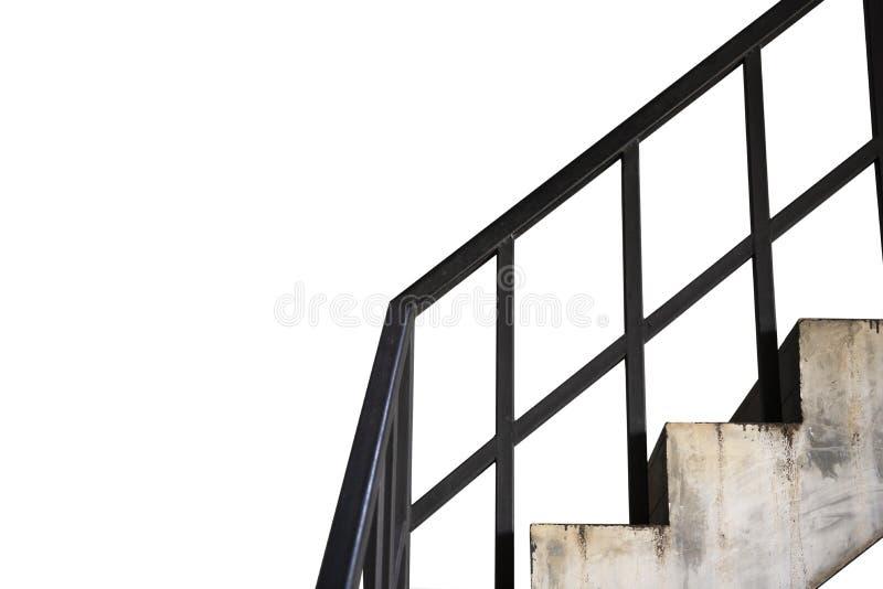 老具体台阶和黑钢棍孤立在白色背景 库存照片