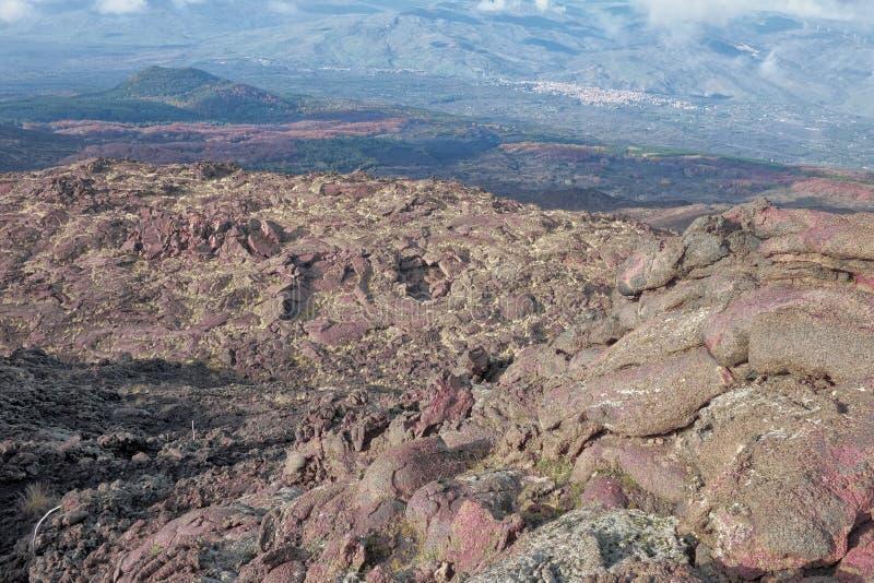 老冷却的熔岩在北部Etna公园,西西里岛 库存图片
