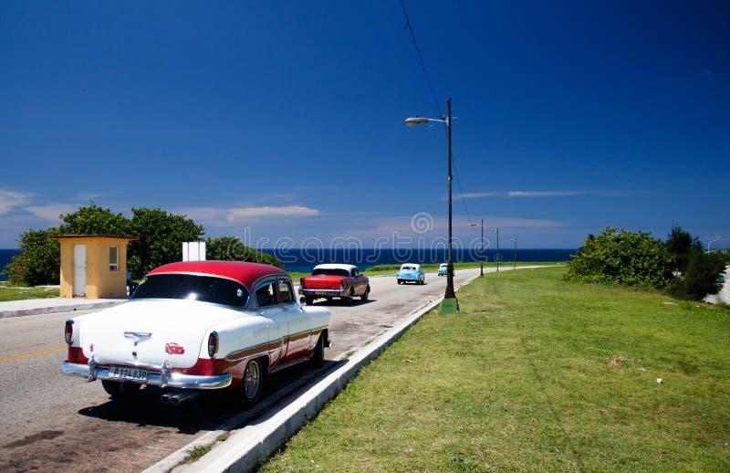 老减速火箭的经典美国汽车在哈瓦那,古巴- 7 图库摄影