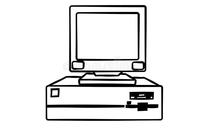 老减速火箭的葡萄酒古董行家过时固定式个人计算机有一个系统单元和一个拍击声底部的在白色背景 库存例证
