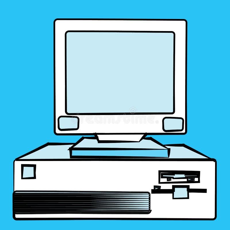 老减速火箭的葡萄酒古董行家过时固定式个人计算机有一个系统单元和一阵拍击声的从下面在一蓝色backgro 向量例证