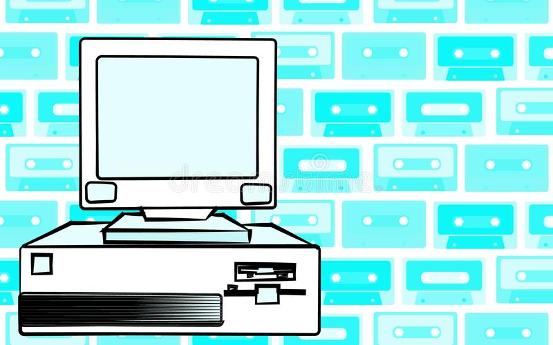 老减速火箭的葡萄酒古董行家过时固定式个人计算机有一个系统单元和一阵拍击声的从下面在背景o 库存例证