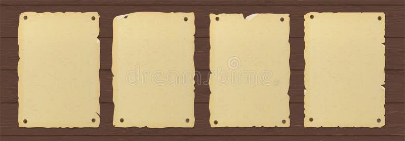 老剥去了包装纸海报被钉牢对木墙壁 皇族释放例证