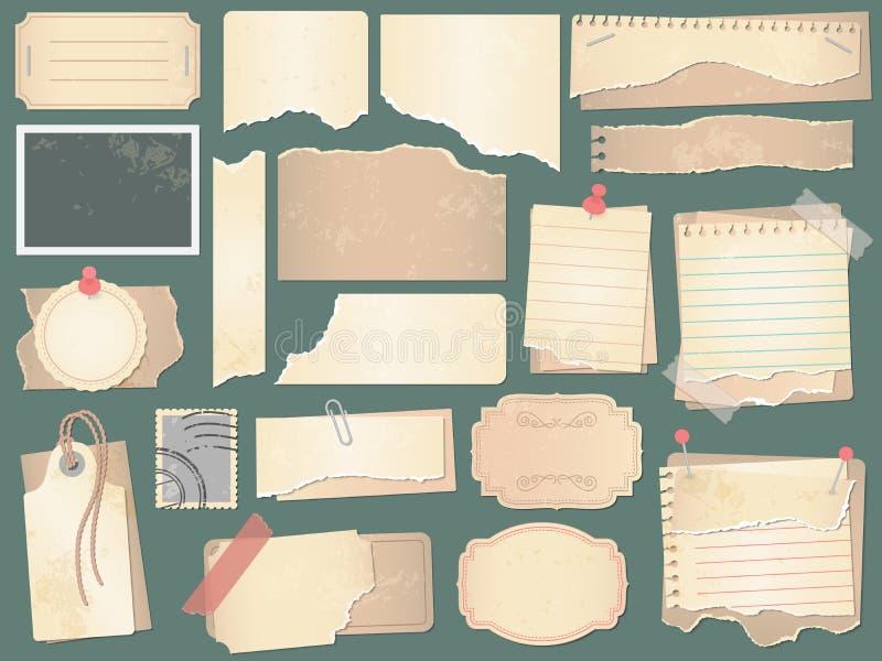 老剪贴薄纸 压皱纸页、葡萄酒剪贴薄纸和减速火箭的照片书废弃传染媒介例证 库存例证
