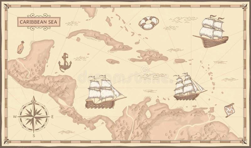 老加勒比海地图 古老海盗路线、幻想海海盗船和葡萄酒海盗地图传染媒介概念 向量例证