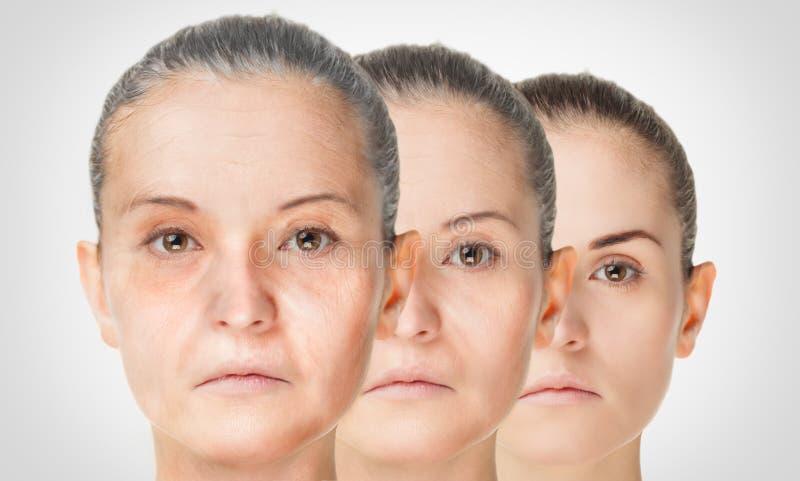老化过程,回复防皱皮肤做法 库存照片