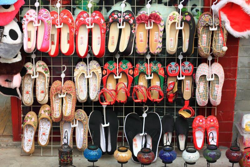 老北京布料鞋子 库存照片
