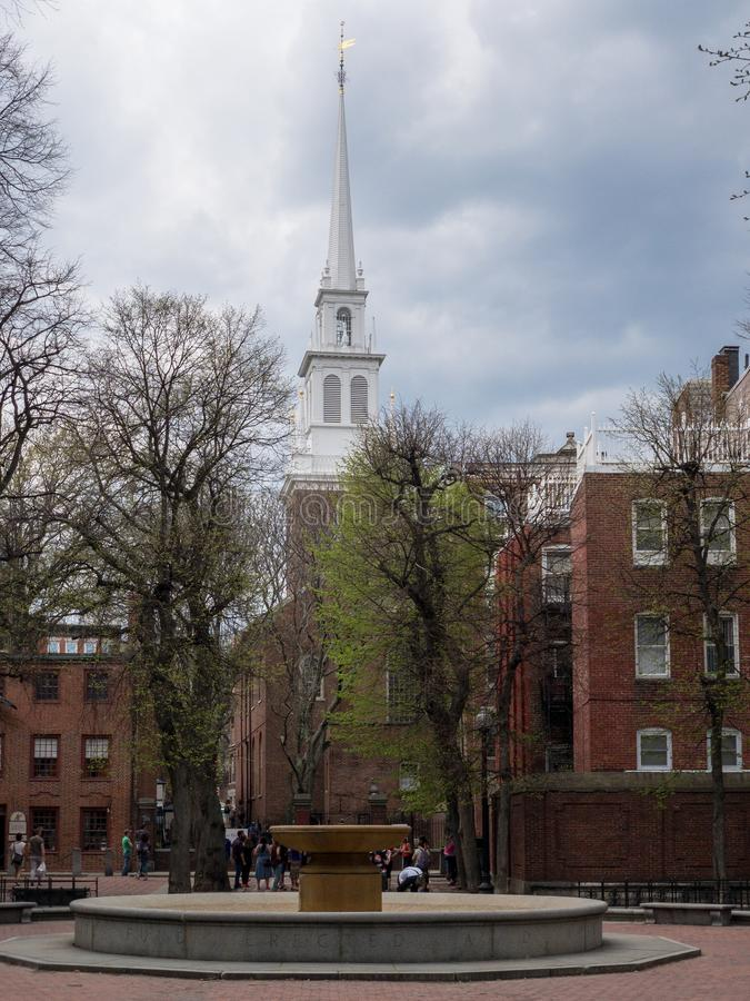 老北部教会-波士顿,马萨诸塞 免版税库存照片